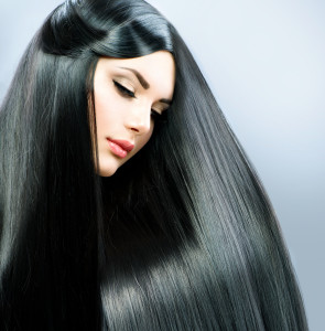Argan Oil for Long Straight Hair. Beautiful Brunette Girl. Healthy Black Hair.